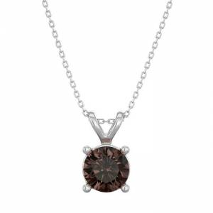 SuperJeweler 1/2 Carat Chocolate Bar Brown Champagne Diamond Solitaire Necklace in 14K White Gold (2 g), 18 Inches by SuperJeweler