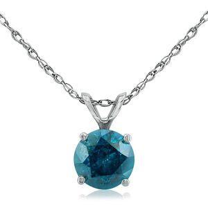 Hansa 1/2 Carat Round Brilliant Cut Blue Diamond Pendant Necklace in 14k White Gold (1 g), 18 Inch Chain by SuperJeweler