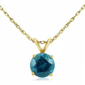 Hansa 1/2 Carat Round Brilliant Cut Blue Diamond Pendant Necklace in 14k Yellow Gold (1 g), 18 Inch Chain by SuperJeweler