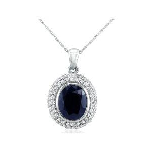 SuperJeweler 4 Carat Sapphire & Diamond Pendant Necklace in 14k White Gold (4.7 g), , 18 Inch Chain by SuperJeweler