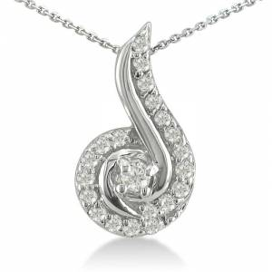SuperJeweler 1/4 Carat Swirling Diamond Pendant Necklace in White Gold (1 g), , 18 Inch Chain by SuperJeweler
