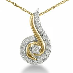 SuperJeweler 1/4 Carat Swirling Diamond Pendant Necklace in Yellow Gold (1 g), , 18 Inch Chain by SuperJeweler