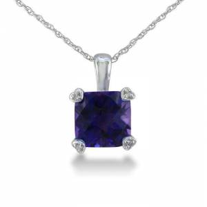 SuperJeweler 2 Carat Cushion Cut Amethyst & Diamond Pendant Necklace in White Gold (1.8 g), , 18 Inch Chain by SuperJeweler