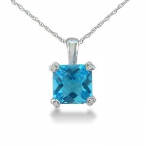 SuperJeweler 2 Carat Cushion Cut Blue Topaz & Diamond Pendant Necklace in White Gold (1.8 g), , 18 Inch Chain by SuperJeweler