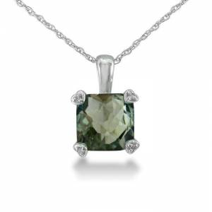 SuperJeweler 2 Carat Cushion Cut Green Amethyst & Diamond Pendant Necklace in White Gold (1.8 g), , 18 Inch Chain by SuperJeweler