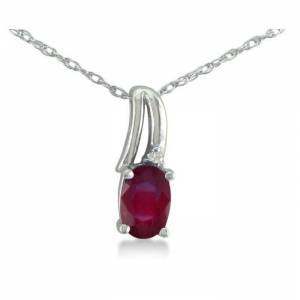 SuperJeweler 1/2 Carat Oval Shape Created Ruby & Diamond Necklace in White Gold (3 g), , 18 Inch Chain by SuperJeweler