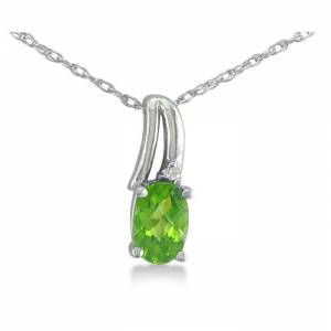 SuperJeweler 1/2 Carat Oval Shape Peridot & Diamond Necklace in White Gold (3 g), , 18 Inch Chain by SuperJeweler