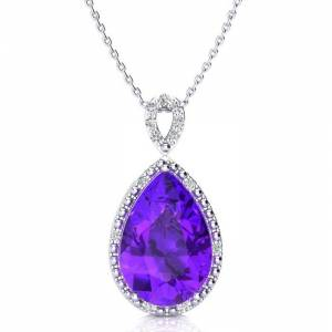SuperJeweler 3 1/2 Carat Pear Shaped Amethyst & Diamond Necklace in White Gold (2.40 g), , 18 Inch Chain by SuperJeweler