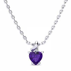 SuperJeweler 1/2 Carat Amethyst & Diamond Heart Necklace in White Gold (2 g), , 18 Inch Chain by SuperJeweler
