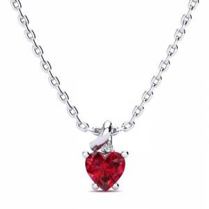 SuperJeweler 1/2 Carat Created Ruby & Diamond Heart Necklace in White Gold (2 g), , 18 Inch Chain by SuperJeweler