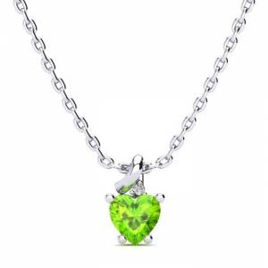 SuperJeweler 1/2 Carat Peridot & Diamond Heart Necklace in White Gold (2 g), , 18 Inch Chain by SuperJeweler