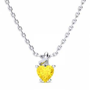 SuperJeweler 1/2 Carat Citrine & Diamond Heart Necklace in White Gold (2 g), , 18 Inch Chain by SuperJeweler