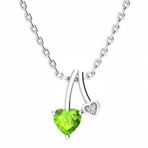 SuperJeweler 1/2 Carat Heart Shaped Peridot & Diamond Necklace in White Gold (3 g), , 18 Inch Chain by SuperJeweler