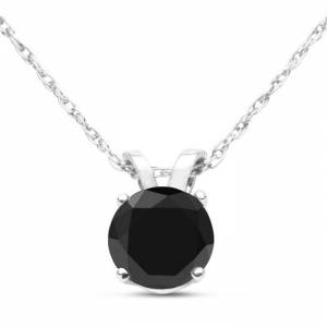 SuperJeweler 1/2 Carat Black Diamond Solitaire Pendant Necklace in White Gold (1 g), 18 Inch Chain by SuperJeweler