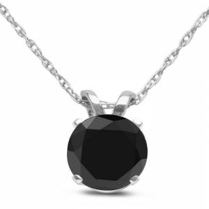 Hansa 3/4 Carat Black Diamond Solitaire Pendant Necklace in White Gold (1.2 g), 18 Inch Chain by SuperJeweler