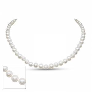 SuperJeweler 7mm AA Hand Knotted Pearl Necklace, 14k White Gold Clasp, 18 Inch Chain by SuperJeweler