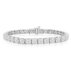 SuperJeweler 9 3/4 Carat Diamond Tennis Bracelet in 14K White Gold (16.6 g), 7.5 Inches,  by SuperJeweler