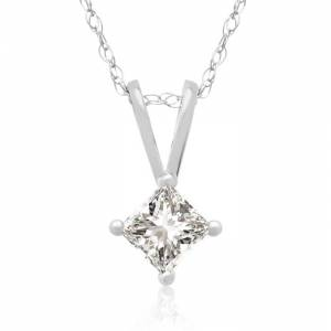 Hansa 1/4 Carat 14k White Gold Princess Cut Diamond Pendant Necklace, G/H Color, 18 Inch Chain by SuperJeweler