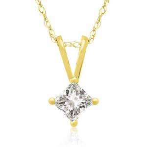 Hansa 1/4 Carat 14k Yellow Gold Princess Cut Diamond Pendant Necklace, G/H Color, 18 Inch Chain by SuperJeweler