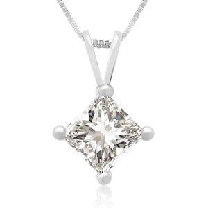 Hansa 3/4 Carat 14k White Gold Princess Cut Diamond Pendant Necklace, G/H Color, 18 Inch Chain by SuperJeweler
