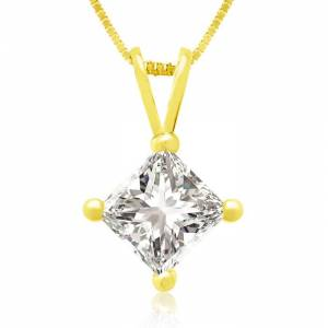 Hansa 3/4 Carat 14k Yellow Gold Princess Cut Diamond Pendant Necklace, G/H Color, 18 Inch Chain by SuperJeweler