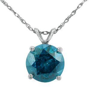 SuperJeweler 1.5 Carat Blue Diamond Solitaire Pendant Necklace, 14k White Gold (1.4 g), 18 Inch Chain by SuperJeweler
