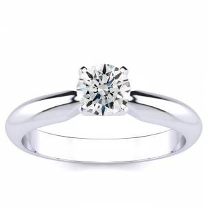 SuperJeweler 1/2 Carat Round Diamond Engagement Ring in White Gold (2 Grams) (F-G Color, ) by SuperJeweler
