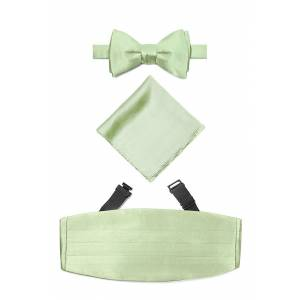 "Elite Solid ""Celedon Green Self Tie Bow Tie Cummerbund Set by Elite Solid -  Green Silk"""