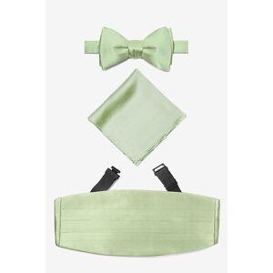 """Elite Solid """"Celedon Green Self Tie Bow Tie Cummerbund Set by Elite Solid -  Green Silk"""""""