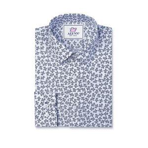 "Alynn ""Brooks Floral Classic Fit Untuckable Dress Shirt by Alynn -  White Cotton"""