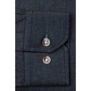 """Alynn """"Liam Denim Classic Fit Untuckable Dress Shirt by Alynn -  Indigo Cotton"""""""