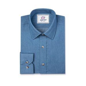 """Alynn """"Liam Denim Slim Fit Untuckable Dress Shirt by Alynn -  Blue Cotton"""""""