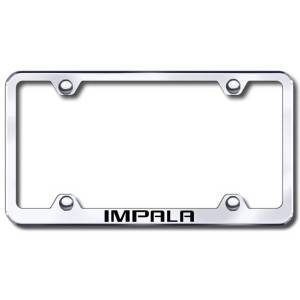 Automotive Gold Chevy Impala Laser Etched Stainless Steel Wide License Plate Frame