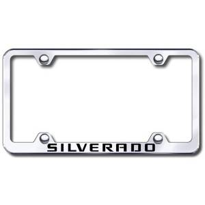 Automotive Gold Chevy Silverado Laser Etched Stainless Steel Wide License Plate Frame