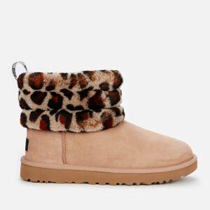 UGG Women's Fluff Mini Quilted Leopard Sheepskin Boots - Amphora - UK 3