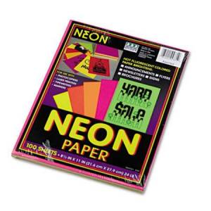 Pacon Array Colored Bond Paper  24lb  8-1/2 x 11  Assorted Neon  100 Sheets/Pack