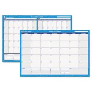 AT-A-GLANCE 30/60-Day Undated Horizontal Erasable Wall Planner  36 x 24  White/Blue