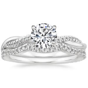 Platinum Petite Twisted Vine Contoured Diamond Bridal Set (1/3 ct. tw.)