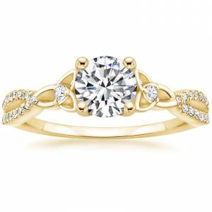 18K Yellow Gold Luxe Entwined Celtic Love Knot Diamond Ring