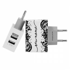Gocase Customized Dual Usb Wall Charger for iPhone and Android - Black Lace Handwritten