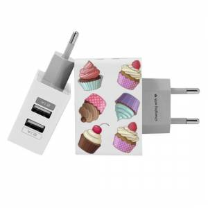 Gocase Customized Dual Usb Wall Charger for iPhone and Android - Cupcakes