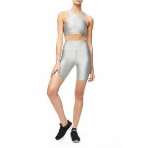 Good American High Waisted The Bike Short Silver001, Plus Size 6