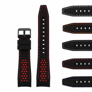 Strapsco Perforated Rubber Strap with Curved Ends and Black Buckle