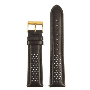 Strapsco Perforated Rally Strap w/ Yellow Gold Buckle - Quick Release