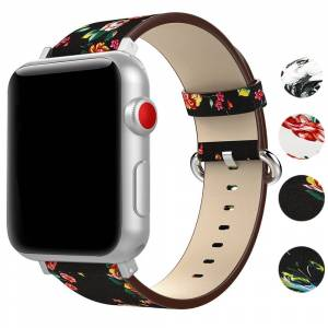 Strapsco Leather Peonies Pattern Band for Apple Watch