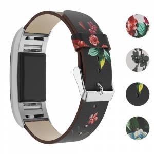 Strapsco Leather Strap with Peonies for Fitbit Charge 2