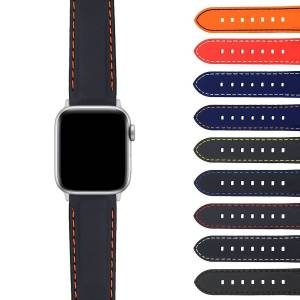 Strapsco Rubber Strap with Stitching for Apple Watch