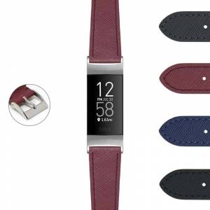 Strapsco DASSARI Women's Saffiano Leather Strap (Extra Short, Short, Standard) for Fitbit Charge 4 & Charge 3