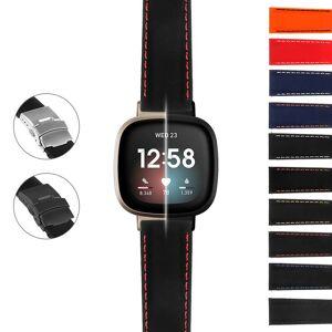Strapsco Rubber Strap w/ Stitching & Clasp for Fitbit Sense