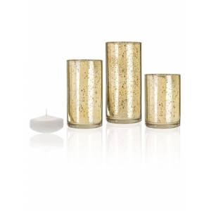 YummiCandles 18 Floating Candles and Gold Metallic Cylinders